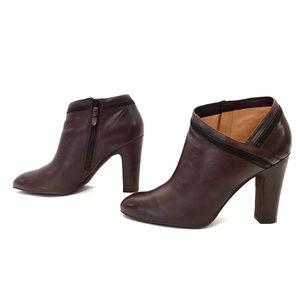 Via Spiga Brown Leather High Heel Booties w/Zipper